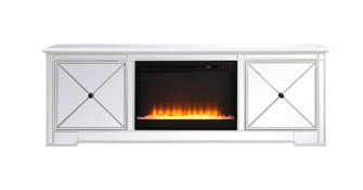 Modern 72 in. mirrored tv stand with crystal fireplace in antique white (758|MF60172AWF2)