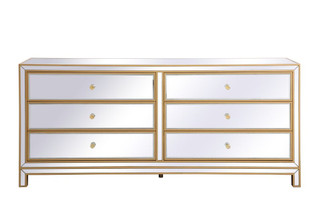 Reflexion 72 in. mirrored six drawer chest in gold (758|MF73672G)
