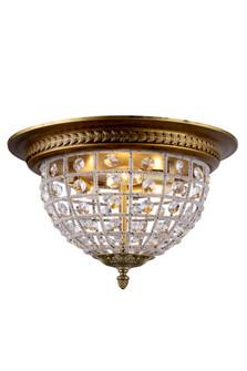 Olivia 3 light French Gold Flush Mount Clear Royal Cut Crystal (758 1205F18FGRC)