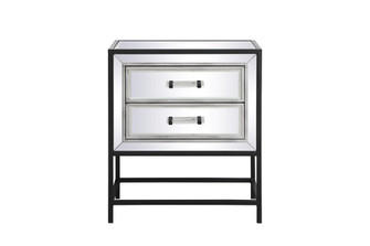 21 inch mirrored two drawers end table in black (758|MF73016BK)