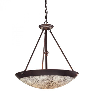 DIAMANTE COLLECTION 5-LIGHT PENDANT IN A DARK RUST FINISH WITH WHITE CRACKLED GL (91|5365DRWHC)