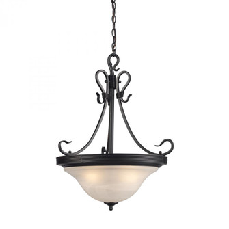 BUCKINGHAM 3-LIGHT PENDANT in BK W/WHITE GLASS (91|254BK)