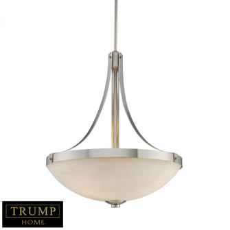 3-Light Pendant in Brushed Nickel with White Glass (91|102033)