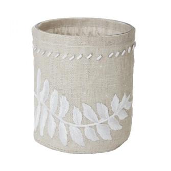 Linen Silver Stitched Fern Votive-s (7480 625044)