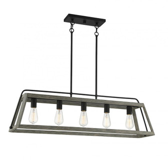 Hasting 5 Light  Noblewood With Iron Linear Chandelier (128 188925101)