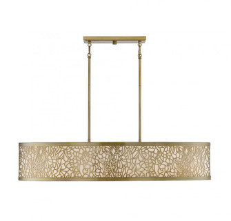 New Haven 5 Light  New Burnished Brass Linear Chandelier (128 175015171)