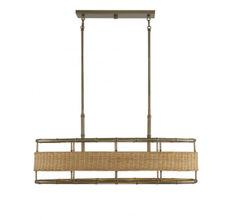 Arcadia 4 Light Warm Brass With Natural Rattan Linear Chandelier (128 177704177)