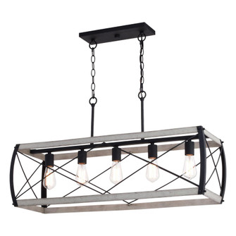Montclare 35-in. 5 Light Linear Chandelier Textured Black and White Ash (51 H0263)