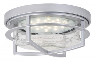 Logan 13-in Outdoor LED Flush Mount Ceiling Light Painted Satin Nickel (51 T0421)