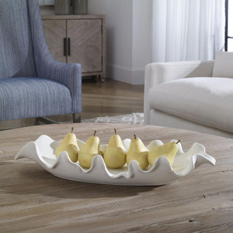 Uttermost Ruffled Feathers Modern White Bowl (85 17965)