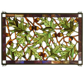 28W X 18H Acorn & Oak Leaf Stained Glass Window (96|66276)