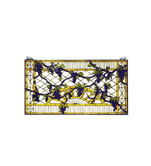 17W X 32H Grape Diamond Trellis Stained Glass Window (96|79789)