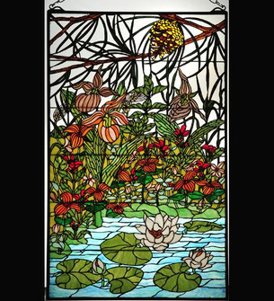 30W X 48H Woodland LilyPond Stained Glass Window (96|77661)