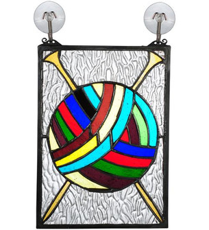 6W X 9H Ball of Yarn W/Needles Stained Glass Window (96|72347)