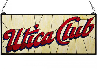 31W X 13H Utica Club Stained Glass Window (96|113374)