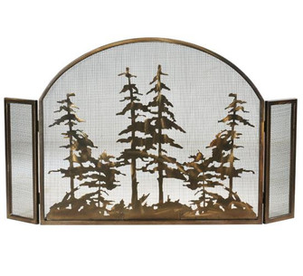 """50""""W X 30""""H Tall Pines Arched Fireplace Screen (96