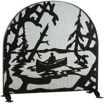 """35""""W X 34.5""""H Canoe At Lake Arched Fireplace Screen (96