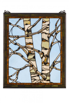24W X 19H Birch Tree in Winter Stained Glass Window (96|175993)