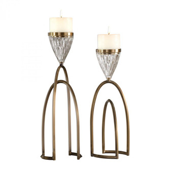 Uttermost Carma Bronze And Crystal Candleholders, S/2 (85|18920)