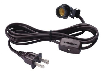 6' Cord Set with Snap-In Pigtail Candelabra Base Socket and Cord Switch Brown (32|7000300)