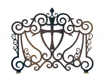 """42"""" Wide Cross with Crest Fireplace Screen (96