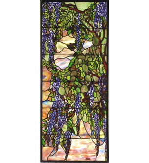 15.25W X 36.25H Tiffany Wisteria & Snowball Custom Stained Glass Window (96|72152)