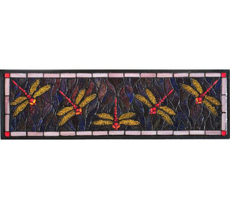 27W X 8.75H Three Dragonfly Stained Glass Window (96|98486)
