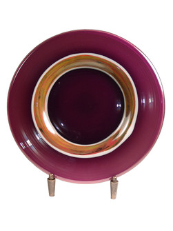 Melrose Hand Blown Art Glass Charger Plate with Stand (208|AG500284)