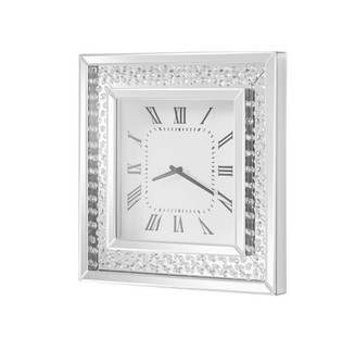 Sparkle 20 in. Contemporary Crystal Square Wall clock in Clear (758|MR9114)