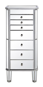 7 Drawer Jewelry Armoire 18 in. x 12 in. x 41 in. in silver Clear (758|MF61003SC)