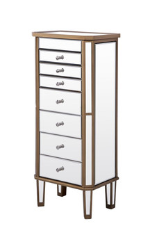 7 Drawer Jewelry Armoire 18 in. x 12 in. x 41 in. in Gold Clear (758|MF61103GC)