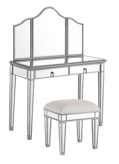Vanity Table 42 in. x 18 in. x 31 in. and Mirror 39 in. x 1 in. x 42 in. and Chair 18 in. x 14 in. x (758 MF62002S)