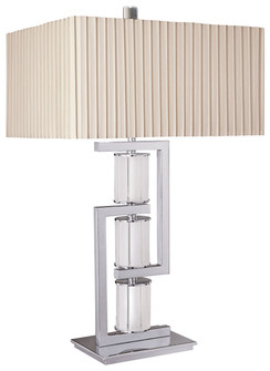 1 Light Table Lamp in Chrome Finish w/ Frosted Glass (10 12355177)