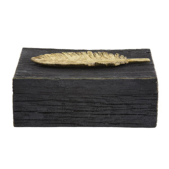 Howard Elliott Rustic Faux Wood Box with Gold Feather Accent (3246 12194)