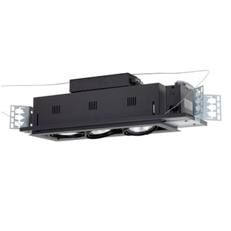 3-Light Double Gimbal Linear Recessed Line Voltage Fixture. (614|MGP303SB)