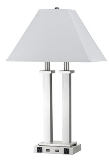60W X 2 Metal Desk Lamp With 2 USB And 2 Power Outlets, On Off Rocker Base Switch (162|LA60003DK4RBS)