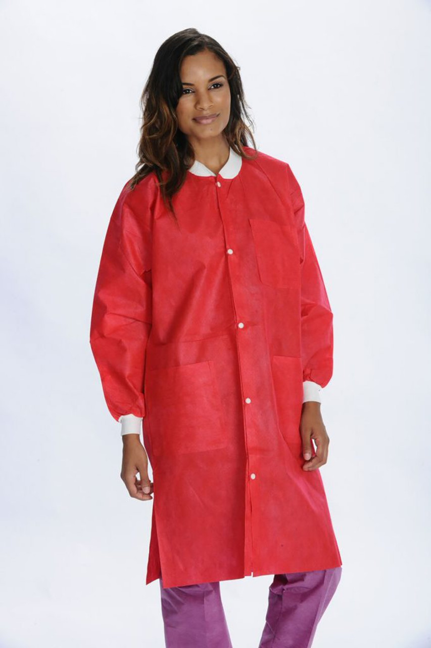 ValuMax Extra-Safe Lab Coat Knee Legnth SMS Red
