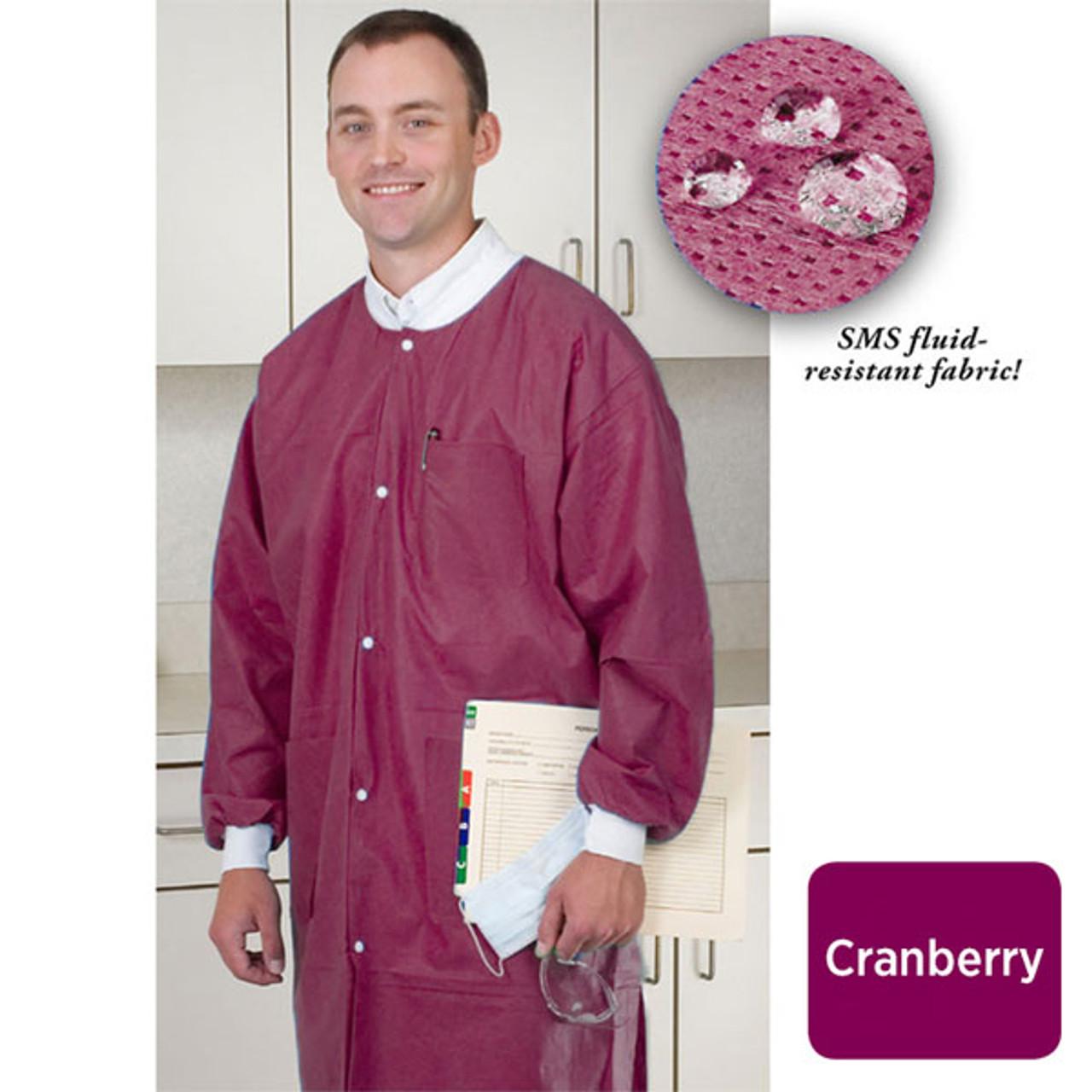 ValuMax Extra-Safe Lab Coat Knee Length SMS Cranberry XS-5XL