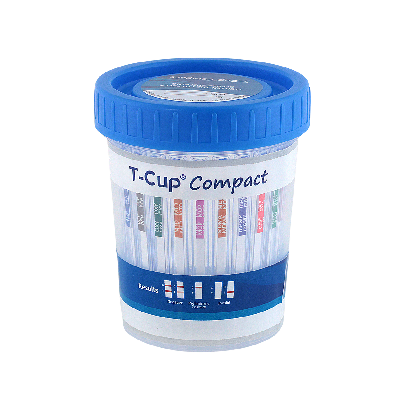 12 Panel T-Cup Compact CLIA Waived Instant Drug Test Cup 25/Box