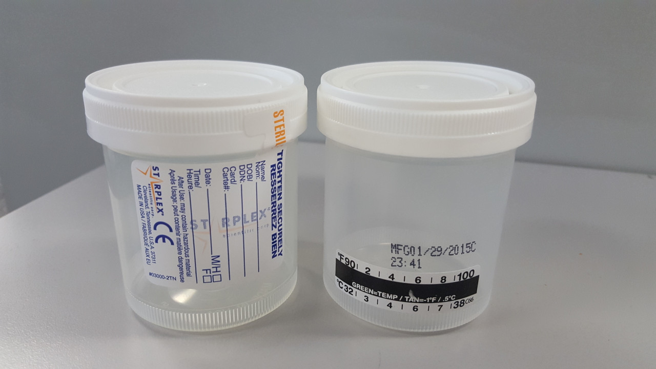 Collection Container 90mL x 53mm, Temp Strip, Label w/ tab, Sterile, 400/Case