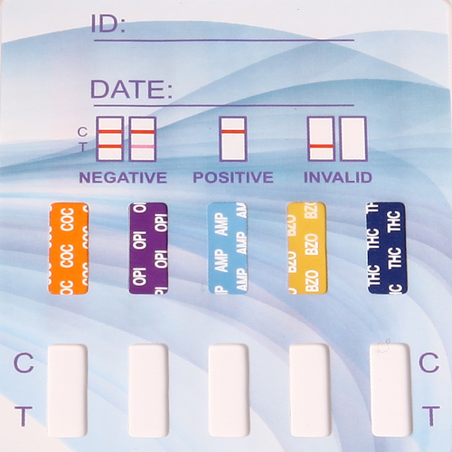 5 Panel Drug Test Dip Card by Healgen CLIA Waived HDOA-754
