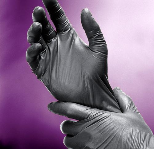 Adenna Black Nitrile Powder-Free Shadow Exam Gloves 100/Box