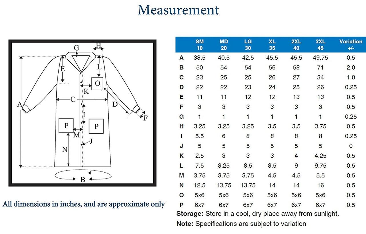 Lab Coat Size Chart Dimensions