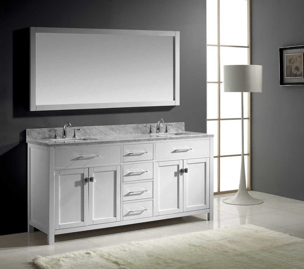Virtu USA Caroline 72 Double Bathroom Vanity Set in White w/ Italian Carrara White Marble Counter-Top |  Square Basin