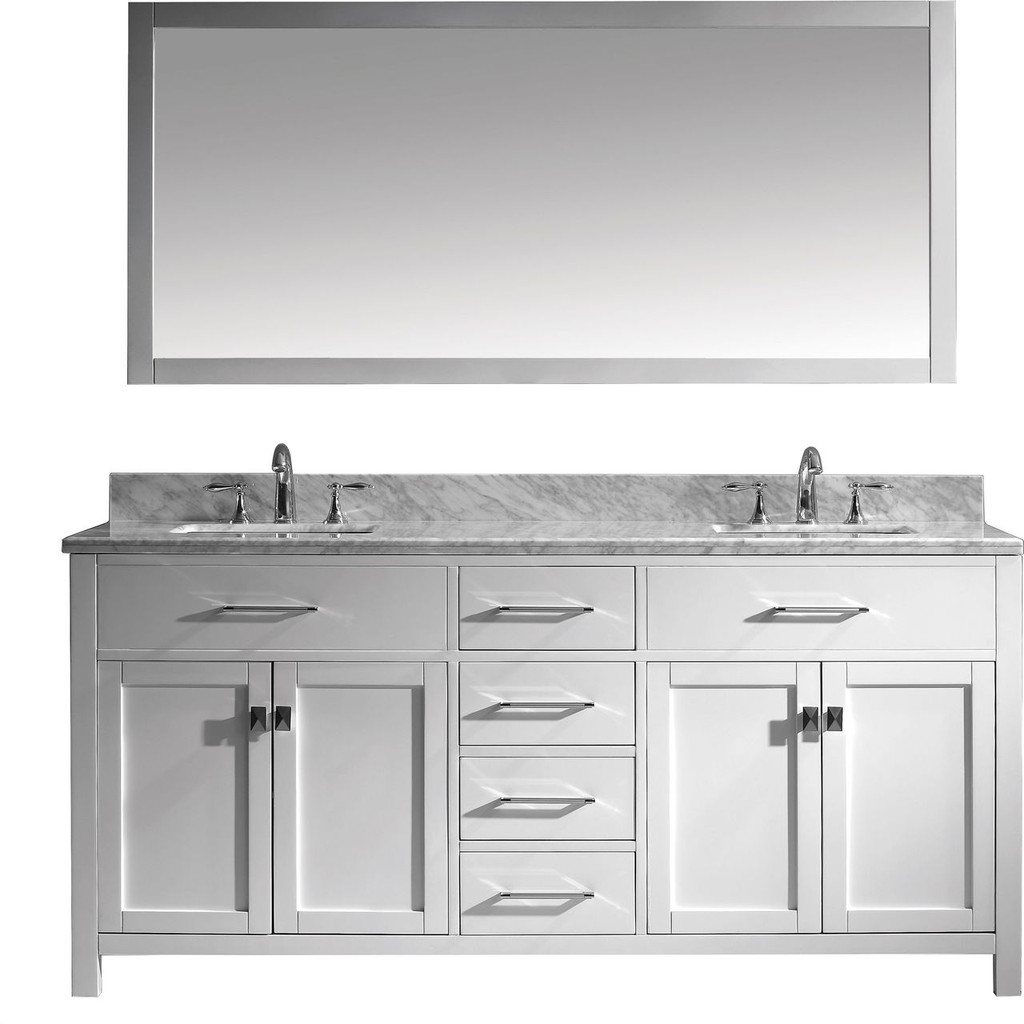 "Virtu USA Caroline 72"" Double Bathroom Vanity Cabinet Set in White w/ Italian Carrara White Marble Counter-Top"