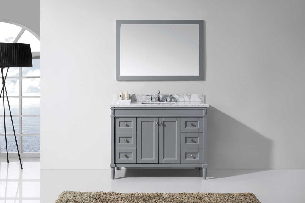 "Virtu USA Tiffany 48"" Single Bathroom Vanity Set in Grey w/ Italian Carrara White Marble Counter-Top"
