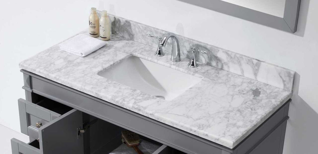 Virtu USA Tiffany 48 Single Bathroom Vanity Set in Grey w/ Italian Carrara White Marble Counter-Top | Square Basin