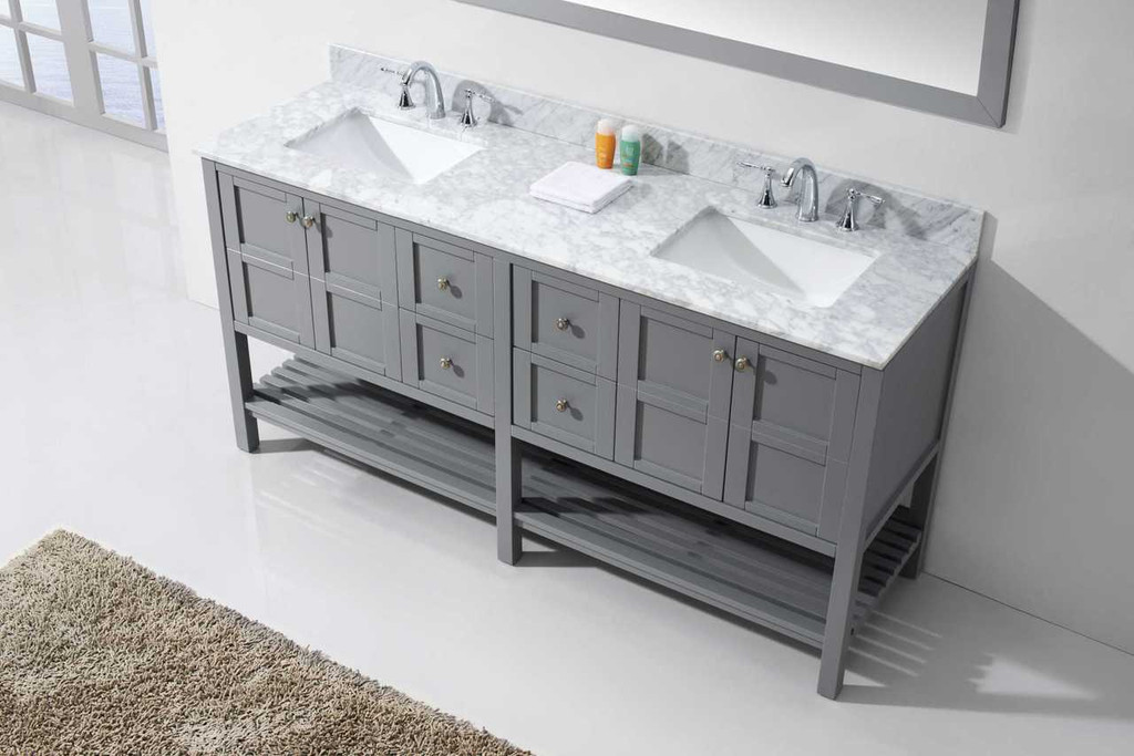 Virtu USA Winterfell 72 Double Bathroom Vanity Set in Grey w/ Italian Carrara White Marble Counter-Top | Square Basin