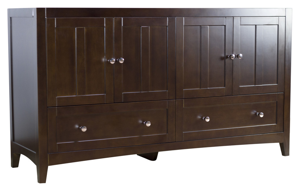"American Imaginations 58.75"" W x 18"" D Modern Plywood-Veneer Vanity Base Only in Walnut"