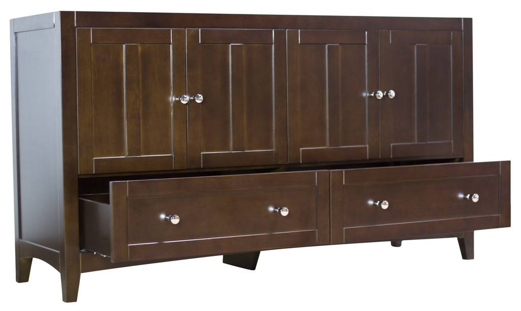 "American Imaginations Shaker 59"" Modern Plywood-Veneer Vanity Base Only in Walnut 